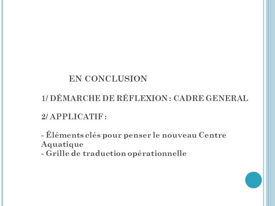 EN CONCLUSION 1/ DÉMARCHE DE RÉFLEXION : CADRE GENERAL 2/ APPLICATIF : - Éléments clés pour penser le nouveau Centre Aquatique - Grille de traduction