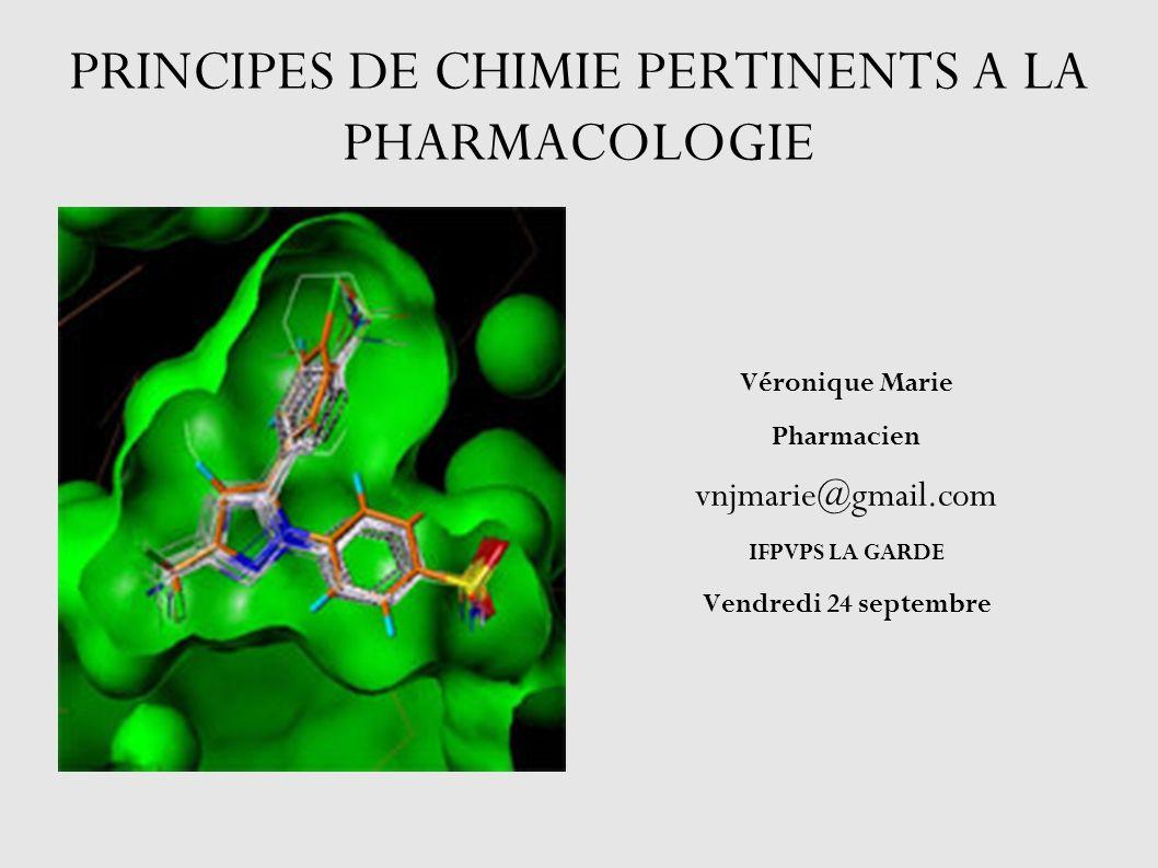 PRINCIPES DE CHIMIE PERTINENTS A LA PHARMACOLOGIE Véronique Marie Pharmacien vnjmarie@gmail.com IFPVPS LA GARDE Vendredi 24 septembre