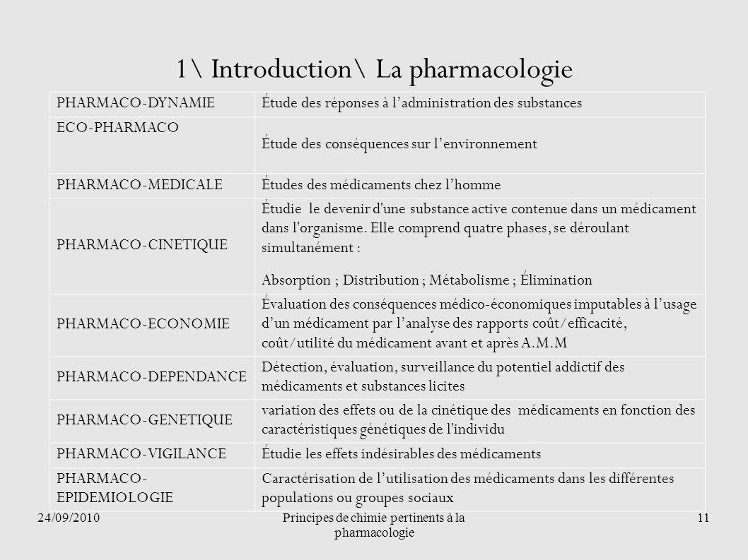 24/09/2010Principes de chimie pertinents à la pharmacologie 11 1\ Introduction\ La pharmacologie PHARMACO-DYNAMIEÉtude des réponses à ladministration