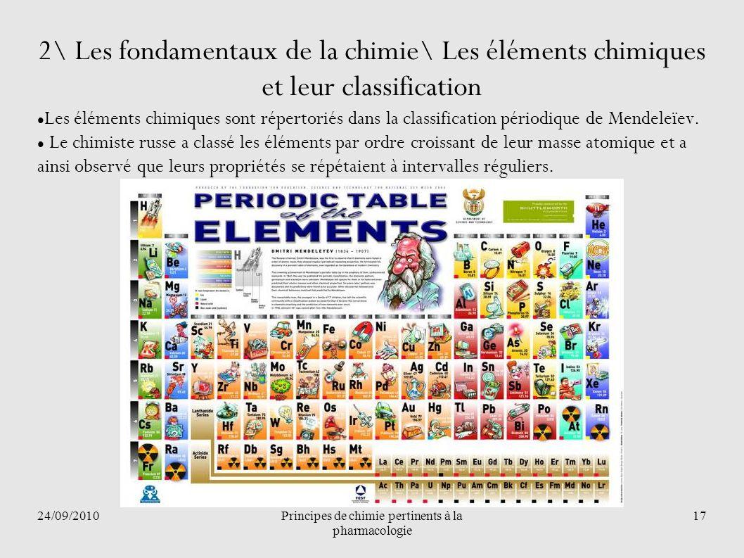24/09/2010Principes de chimie pertinents à la pharmacologie 17 2\ Les fondamentaux de la chimie\ Les éléments chimiques et leur classification Les élé