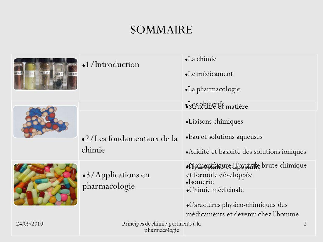 24/09/2010Principes de chimie pertinents à la pharmacologie 2 SOMMAIRE 1/Introduction La chimie Le médicament La pharmacologie Les objectifs 2/Les fon