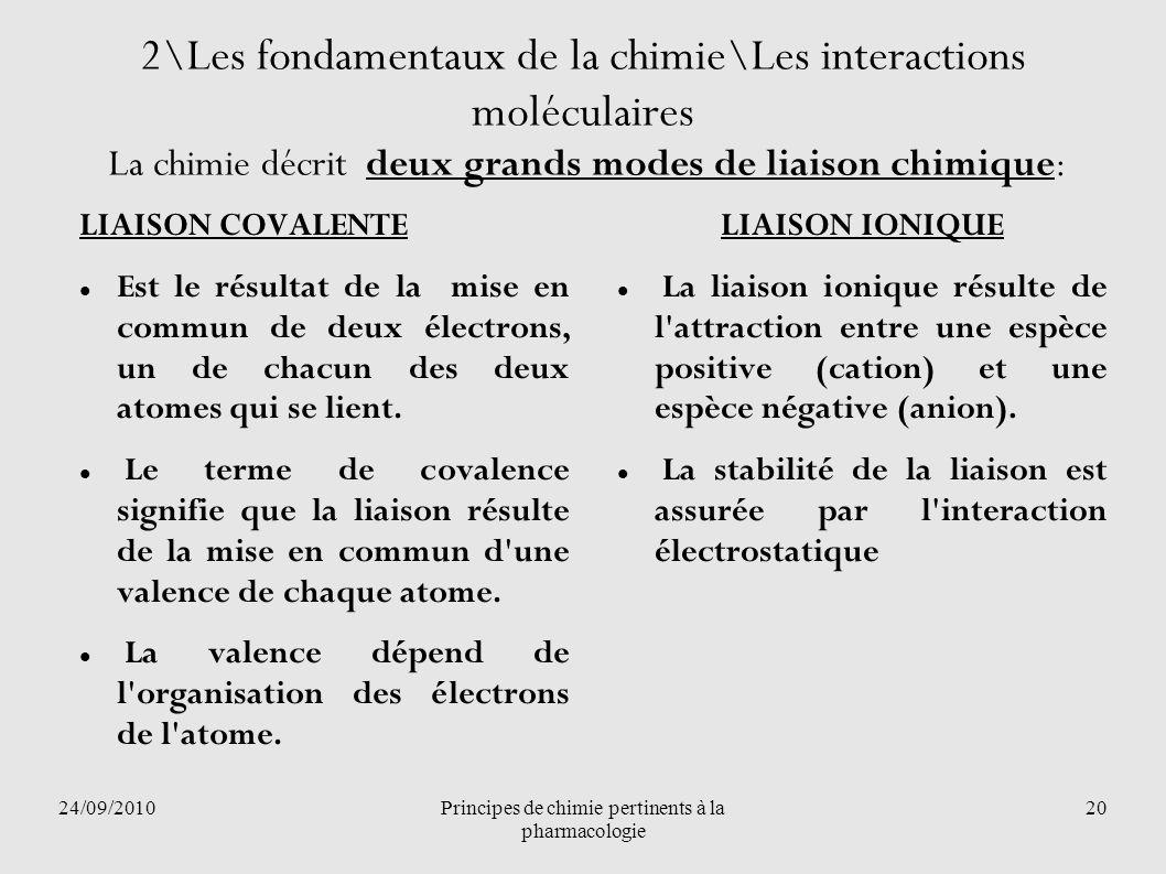 24/09/2010Principes de chimie pertinents à la pharmacologie 20 2\Les fondamentaux de la chimie\Les interactions moléculaires La chimie décrit deux gra