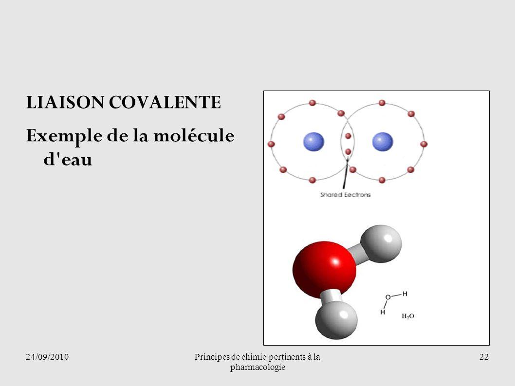 24/09/2010Principes de chimie pertinents à la pharmacologie 22 LIAISON COVALENTE Exemple de la molécule d'eau