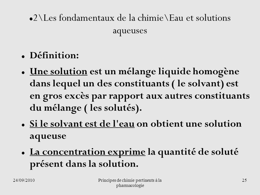 24/09/2010Principes de chimie pertinents à la pharmacologie 25 2\Les fondamentaux de la chimie\Eau et solutions aqueuses Définition: Une solution est