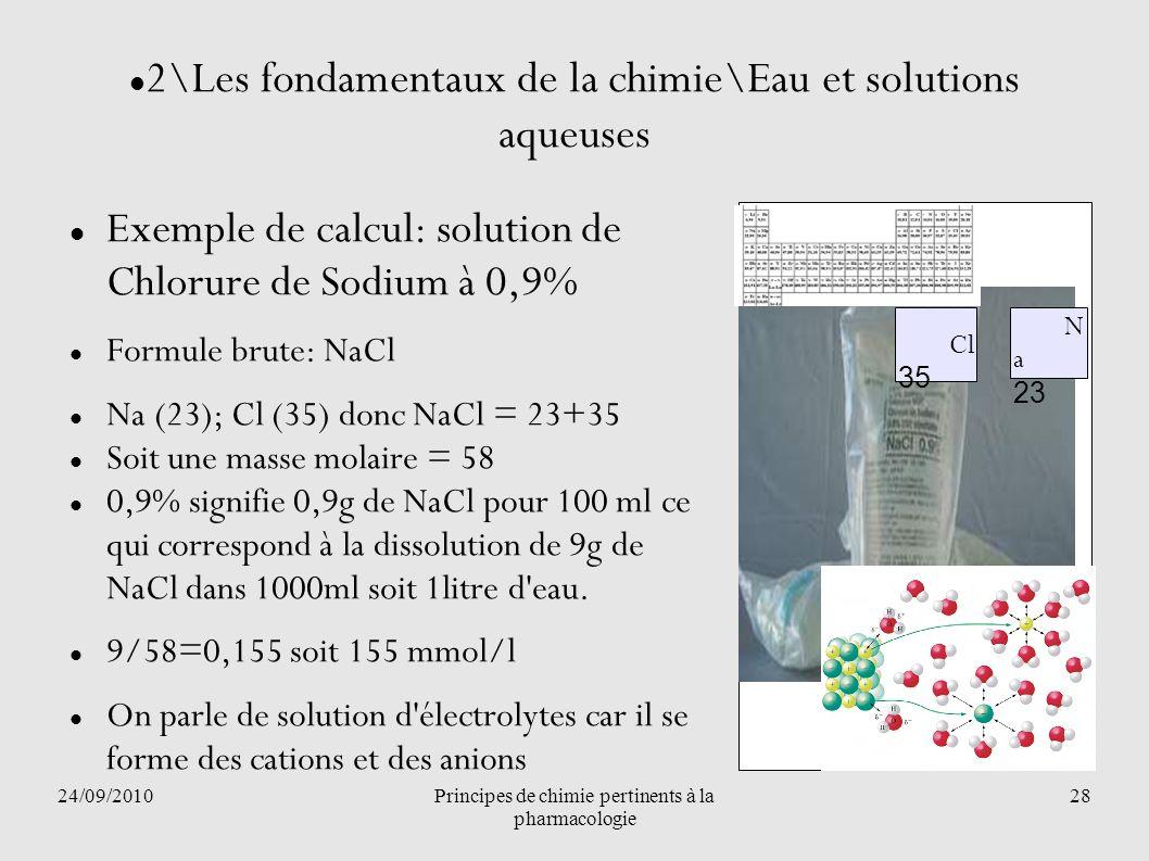 24/09/2010Principes de chimie pertinents à la pharmacologie 28 2\Les fondamentaux de la chimie\Eau et solutions aqueuses Exemple de calcul: solution d