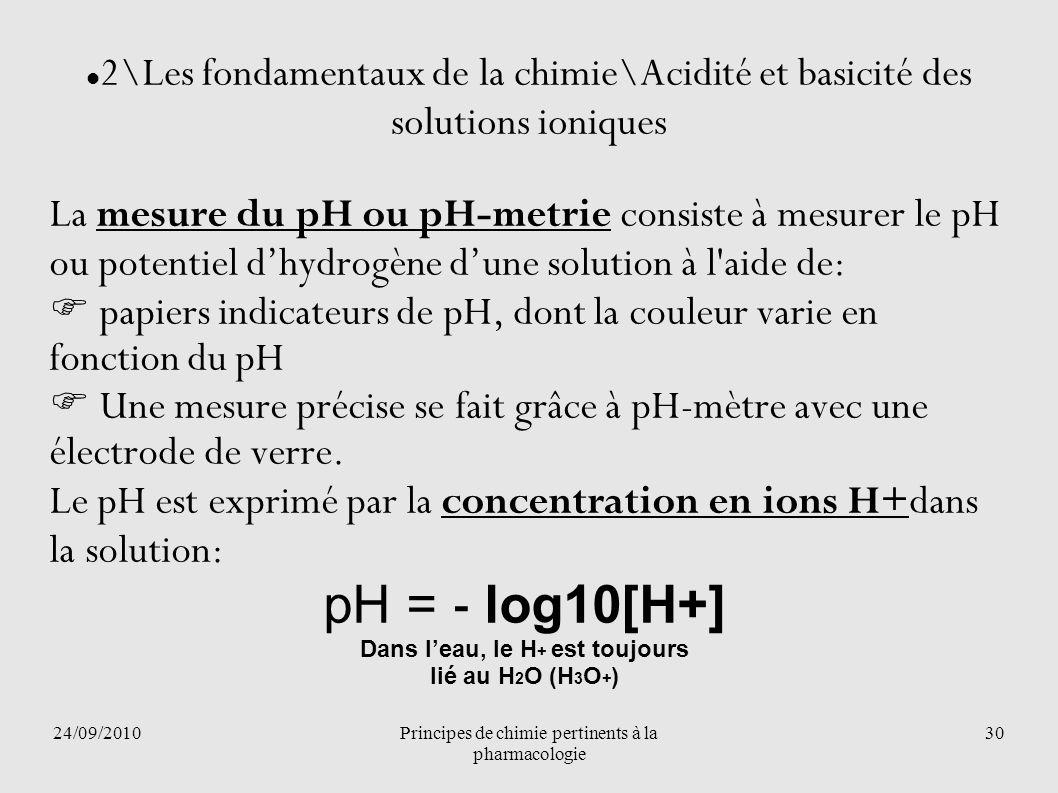 24/09/2010Principes de chimie pertinents à la pharmacologie 30 2\Les fondamentaux de la chimie\Acidité et basicité des solutions ioniques La mesure du