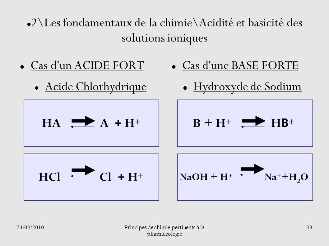 24/09/2010Principes de chimie pertinents à la pharmacologie 33 B + H + H B + HCl Cl - + H + HA A - + H + 2\Les fondamentaux de la chimie\Acidité et ba
