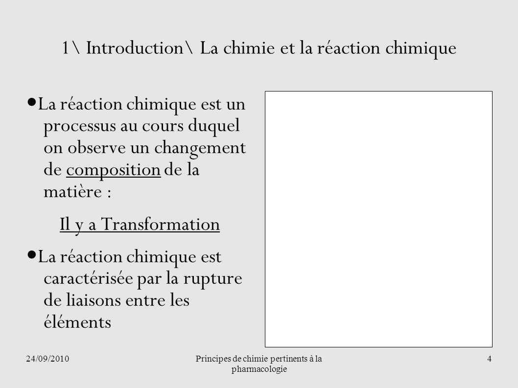 24/09/2010Principes de chimie pertinents à la pharmacologie 5 1\ Introduction\ La chimie et la réaction chimique Loi de conservation de la matière, 1789, Antoine de Lavoisier Au cours dune telle réaction, il y a conservation de la matière.
