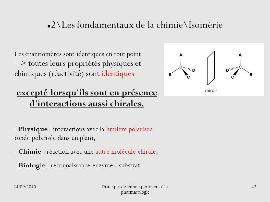 24/09/2010Principes de chimie pertinents à la pharmacologie 42 2\Les fondamentaux de la chimie\Isomérie Les énantiomères sont identiques en tout point