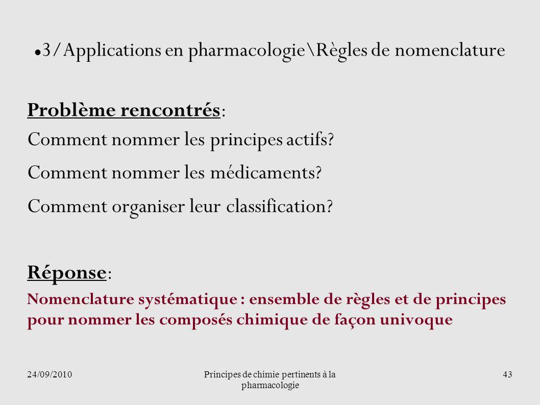 24/09/2010Principes de chimie pertinents à la pharmacologie 43 3/Applications en pharmacologie\Règles de nomenclature Problème rencontrés: Comment nom