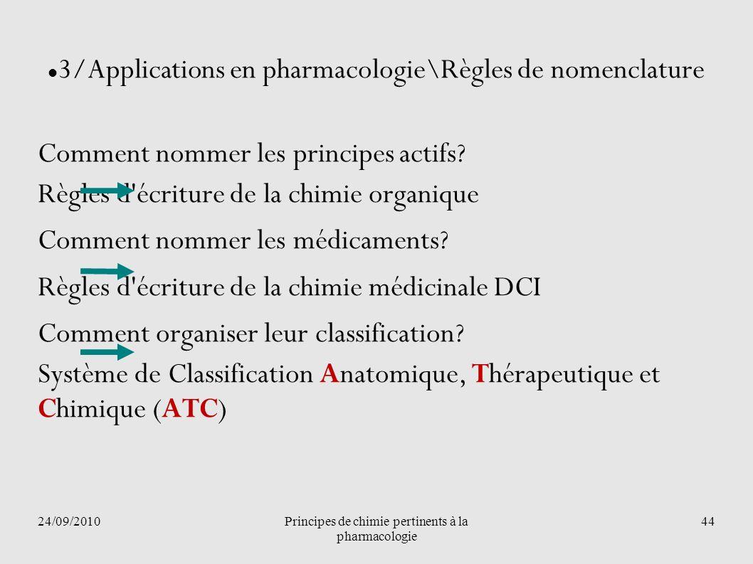 24/09/2010Principes de chimie pertinents à la pharmacologie 44 3/Applications en pharmacologie\Règles de nomenclature Comment nommer les principes act