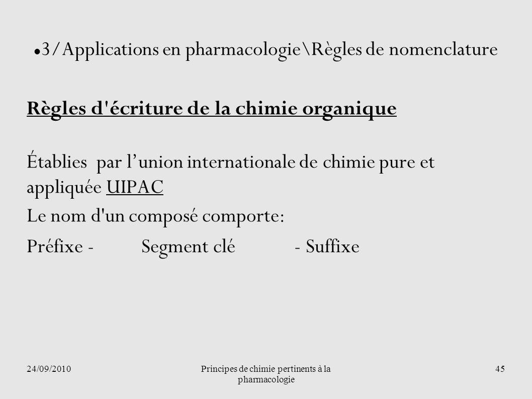 24/09/2010Principes de chimie pertinents à la pharmacologie 45 3/Applications en pharmacologie\Règles de nomenclature Règles d'écriture de la chimie o