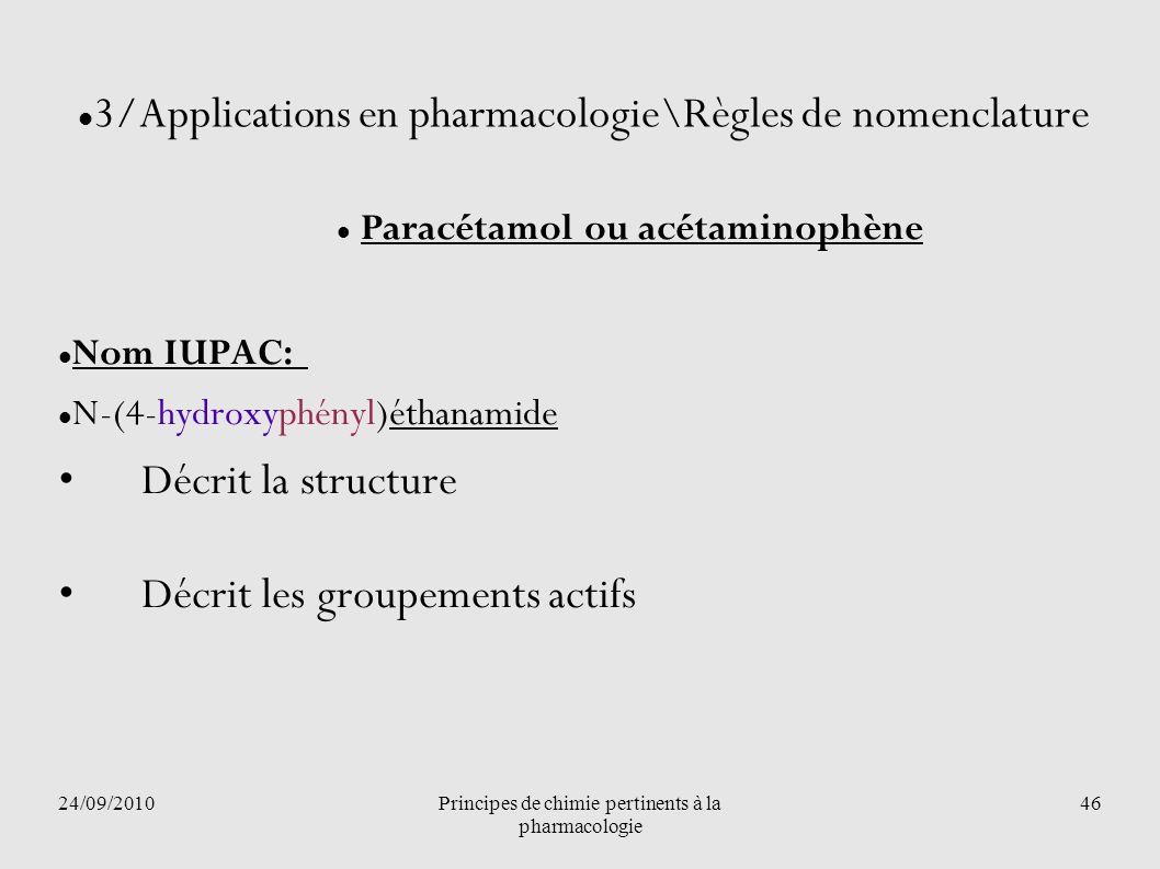 24/09/2010Principes de chimie pertinents à la pharmacologie 46 3/Applications en pharmacologie\Règles de nomenclature Paracétamol ou acétaminophène No