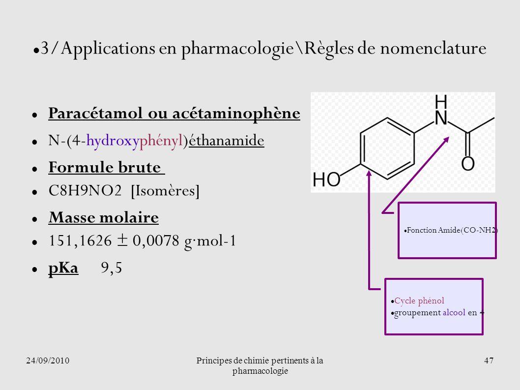 24/09/2010Principes de chimie pertinents à la pharmacologie 47 3/Applications en pharmacologie\Règles de nomenclature Paracétamol ou acétaminophène N-