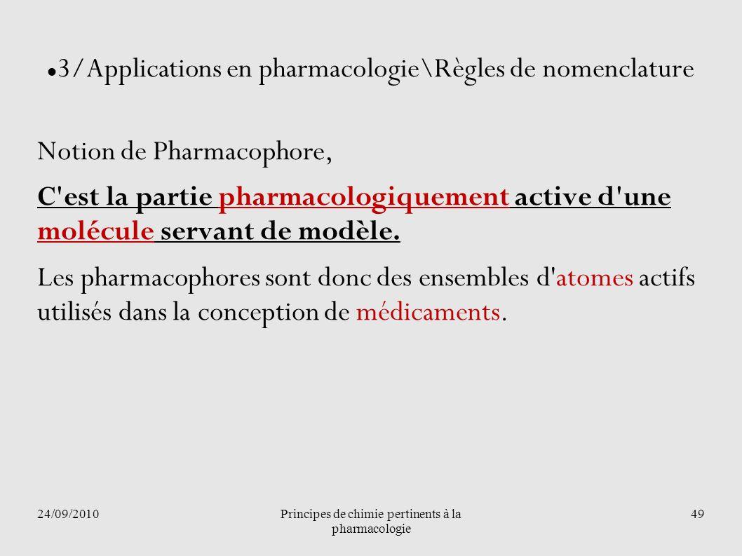 24/09/2010Principes de chimie pertinents à la pharmacologie 49 3/Applications en pharmacologie\Règles de nomenclature Notion de Pharmacophore, C'est l
