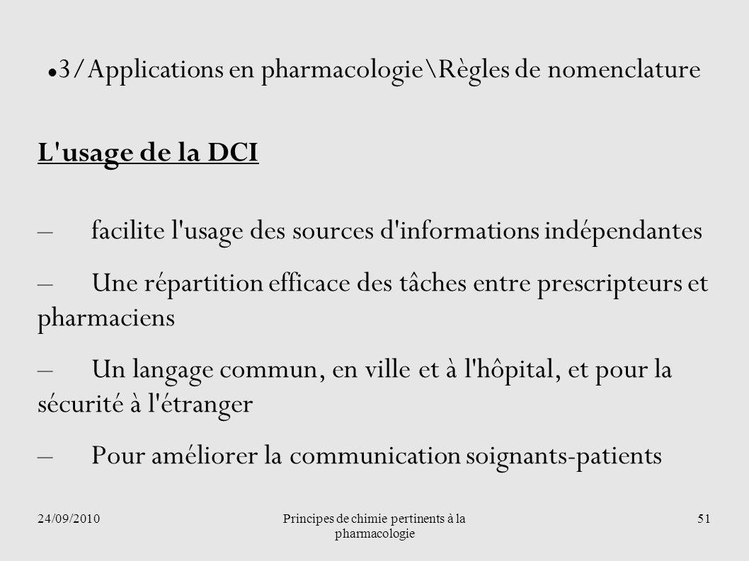 24/09/2010Principes de chimie pertinents à la pharmacologie 51 3/Applications en pharmacologie\Règles de nomenclature L'usage de la DCI –facilite l'us