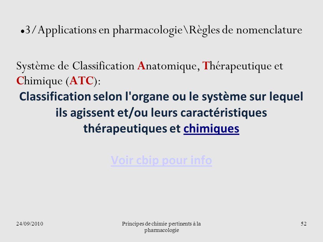 24/09/2010Principes de chimie pertinents à la pharmacologie 52 3/Applications en pharmacologie\Règles de nomenclature Système de Classification Anatom