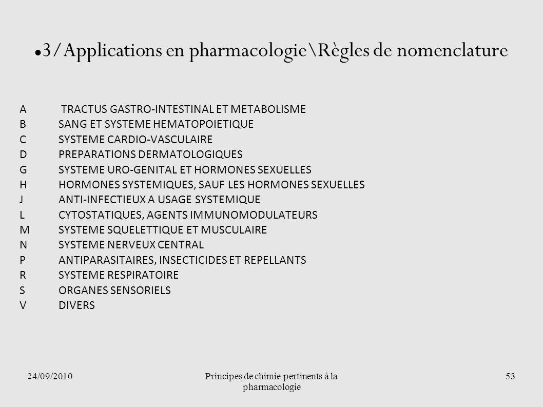 24/09/2010Principes de chimie pertinents à la pharmacologie 53 3/Applications en pharmacologie\Règles de nomenclature A TRACTUS GASTRO-INTESTINAL ET M