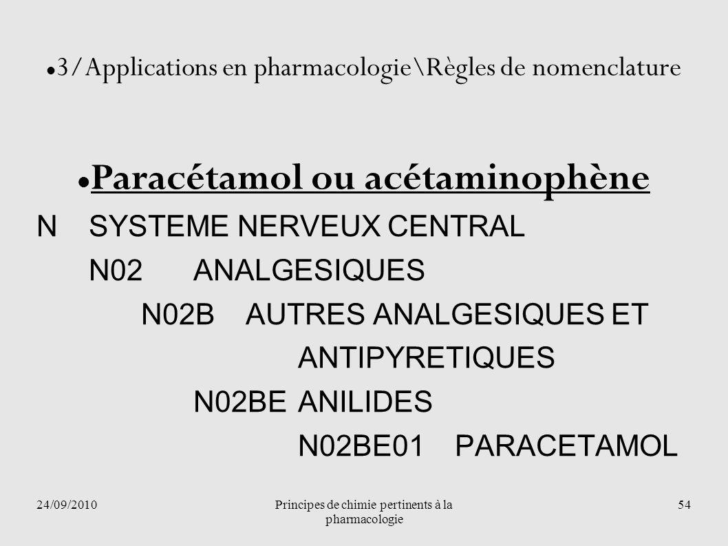 24/09/2010Principes de chimie pertinents à la pharmacologie 54 3/Applications en pharmacologie\Règles de nomenclature Paracétamol ou acétaminophène NS