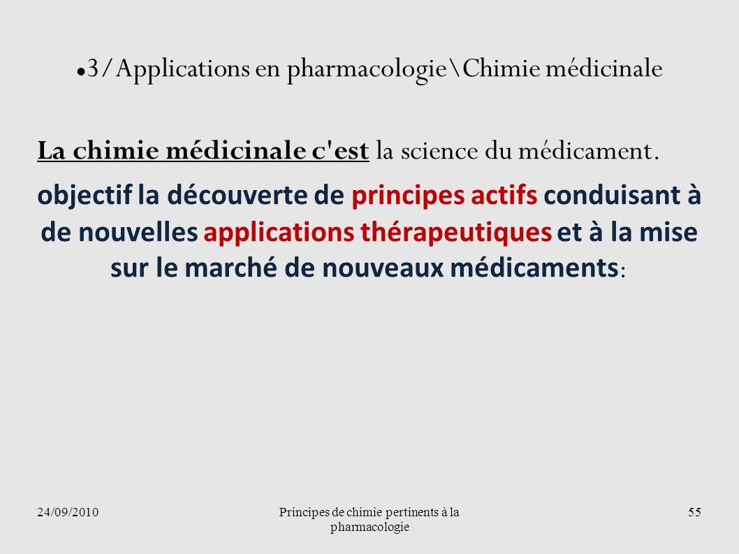 24/09/2010Principes de chimie pertinents à la pharmacologie 55 3/Applications en pharmacologie\Chimie médicinale La chimie médicinale c'est la science