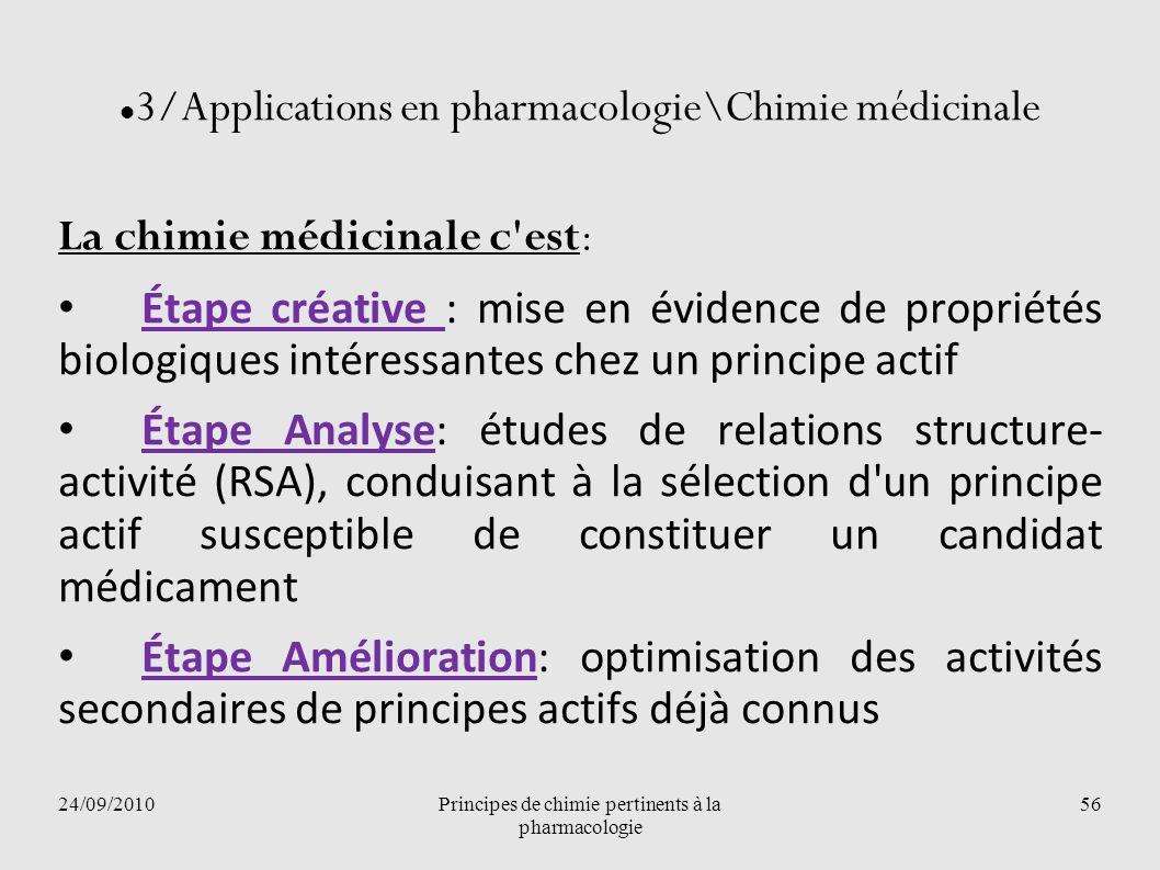 24/09/2010Principes de chimie pertinents à la pharmacologie 56 3/Applications en pharmacologie\Chimie médicinale La chimie médicinale c'est: Étape cré