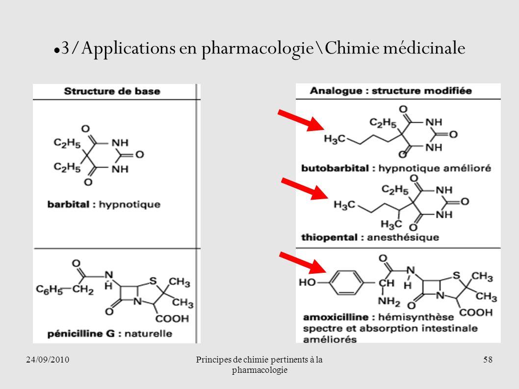 24/09/2010Principes de chimie pertinents à la pharmacologie 58 3/Applications en pharmacologie\Chimie médicinale