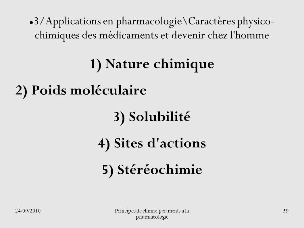 24/09/2010Principes de chimie pertinents à la pharmacologie 59 3/Applications en pharmacologie\Caractères physico- chimiques des médicaments et deveni