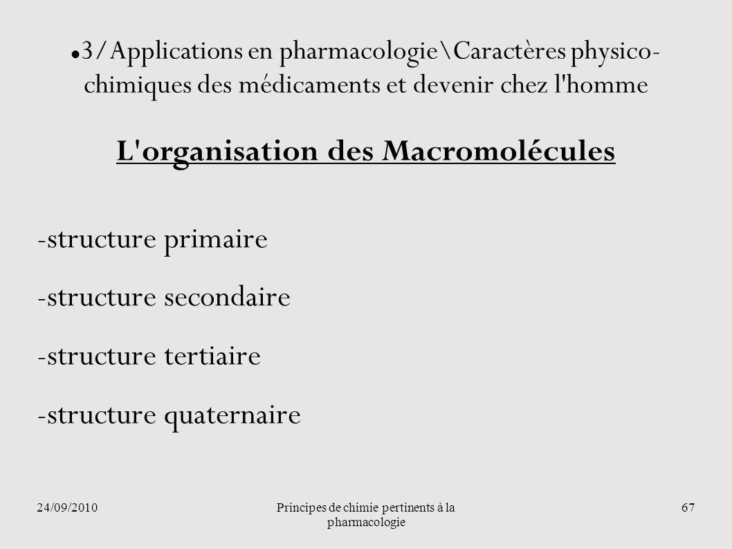 24/09/2010Principes de chimie pertinents à la pharmacologie 67 3/Applications en pharmacologie\Caractères physico- chimiques des médicaments et deveni