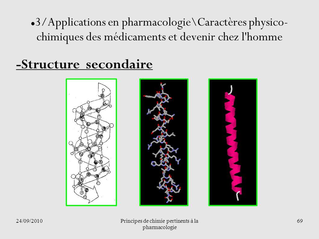 24/09/2010Principes de chimie pertinents à la pharmacologie 69 3/Applications en pharmacologie\Caractères physico- chimiques des médicaments et deveni