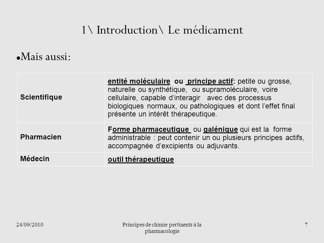 24/09/2010Principes de chimie pertinents à la pharmacologie 7 1\ Introduction\ Le médicament Mais aussi: Scientifique entité moléculaire ou principe a