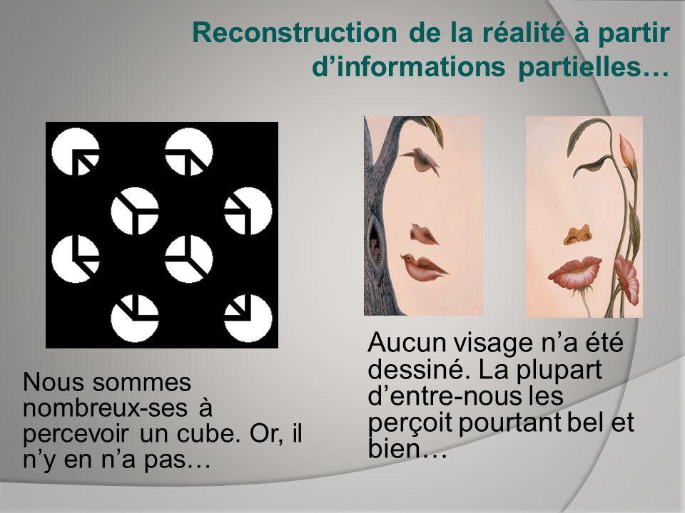 Reconstruction de la réalité à partir dinformations partielles… Aucun visage na été dessiné. La plupart dentre-nous les perçoit pourtant bel et bien…