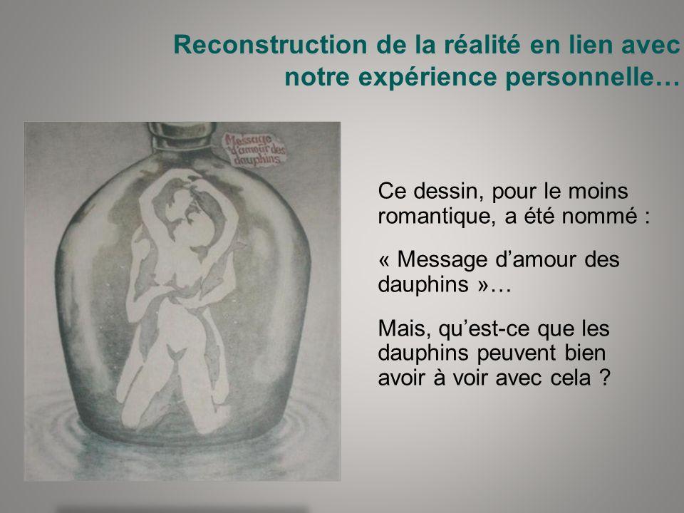 Reconstruction de la réalité en lien avec notre expérience personnelle… Ce dessin, pour le moins romantique, a été nommé : « Message damour des dauphi
