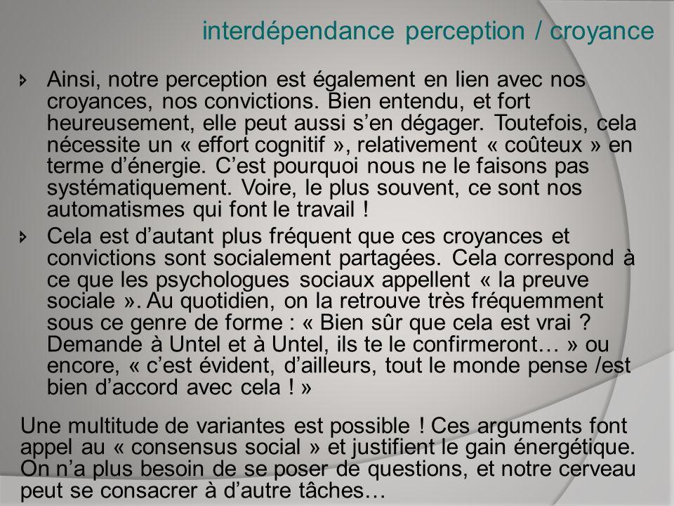 interdépendance perception / croyance Ainsi, notre perception est également en lien avec nos croyances, nos convictions. Bien entendu, et fort heureus