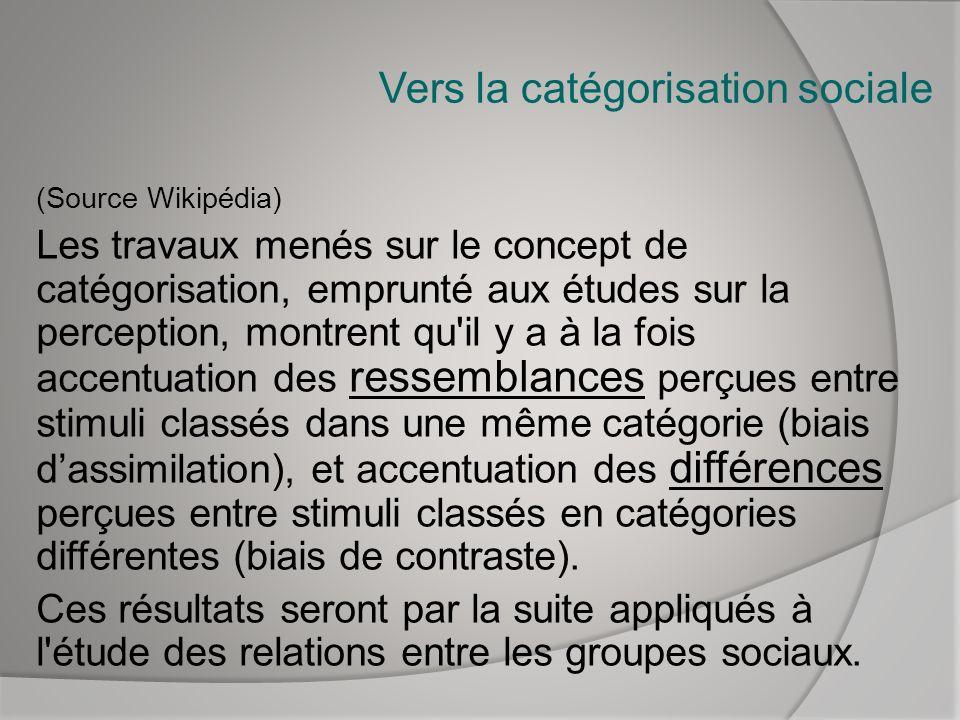 Vers la catégorisation sociale (Source Wikipédia) Les travaux menés sur le concept de catégorisation, emprunté aux études sur la perception, montrent