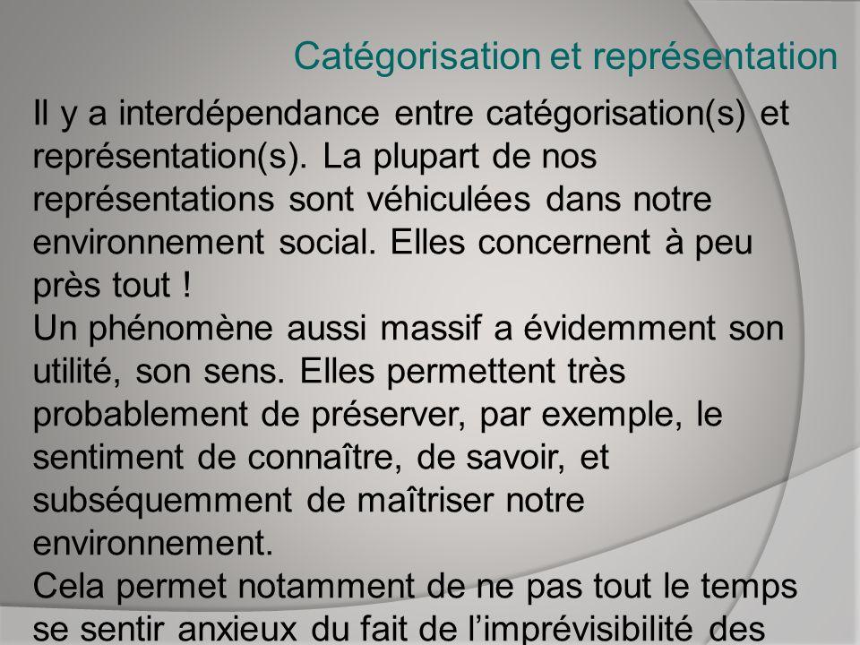 Catégorisation et représentation Il y a interdépendance entre catégorisation(s) et représentation(s). La plupart de nos représentations sont véhiculée