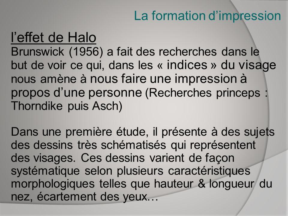 La formation dimpression leffet de Halo Brunswick (1956) a fait des recherches dans le but de voir ce qui, dans les « indices » du visage nous amène à
