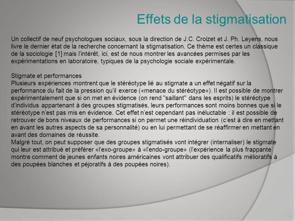Effets de la stigmatisation Un collectif de neuf psychologues sociaux, sous la direction de J.C. Croizet et J. Ph. Leyens, nous livre le dernier état