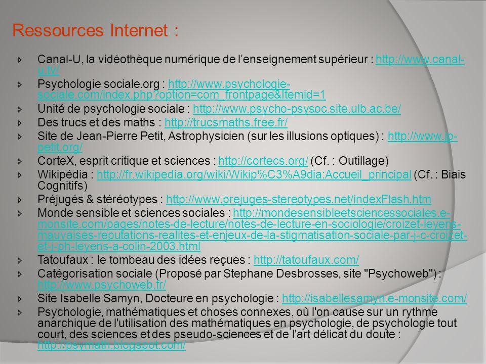 Ressources Internet : Canal-U, la vidéothèque numérique de lenseignement supérieur : http://www.canal- u.tv/http://www.canal- u.tv/ Psychologie social