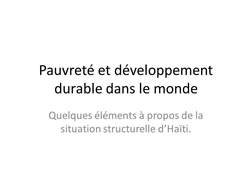 Pauvreté et développement durable dans le monde Quelques éléments à propos de la situation structurelle dHaïti.