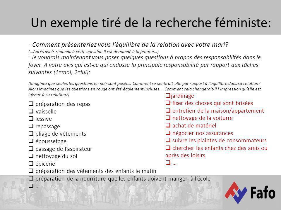 Un exemple tiré de la recherche féministe: - Je voudrais maintenant vous poser quelques questions à propos des responsabilités dans le foyer. A votre