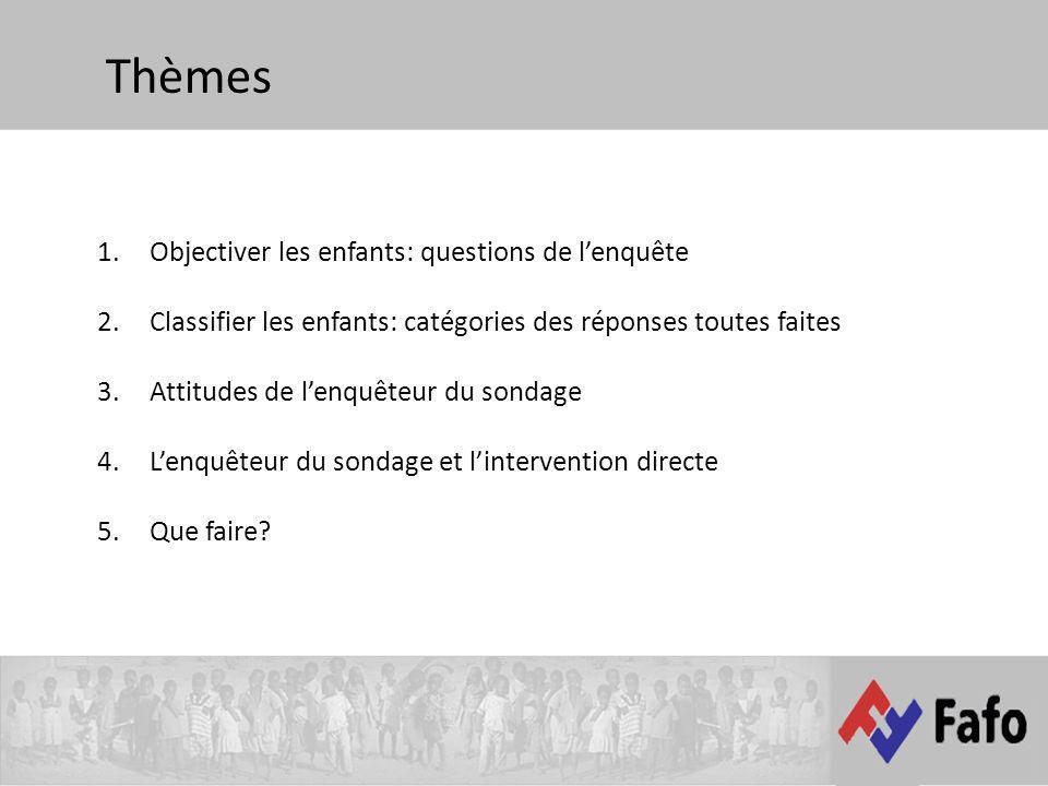 Thèmes 1.Objectiver les enfants: questions de lenquête 2.Classifier les enfants: catégories des réponses toutes faites 3.Attitudes de lenquêteur du sondage 4.Lenquêteur du sondage et lintervention directe 5.Que faire