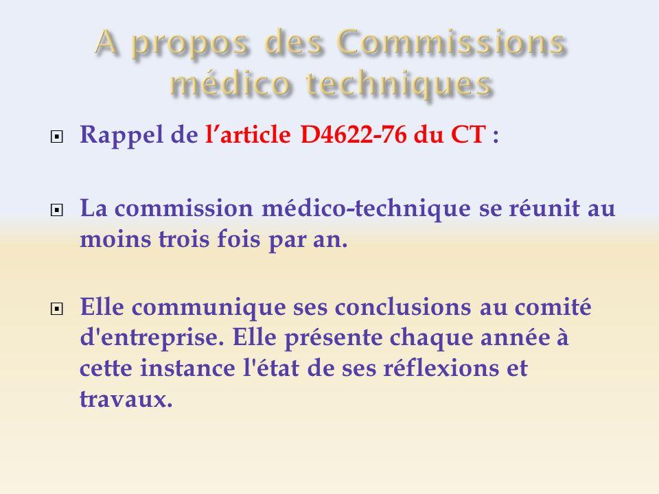 Rappel de larticle D4622-76 du CT : La commission médico-technique se réunit au moins trois fois par an. Elle communique ses conclusions au comité d'e