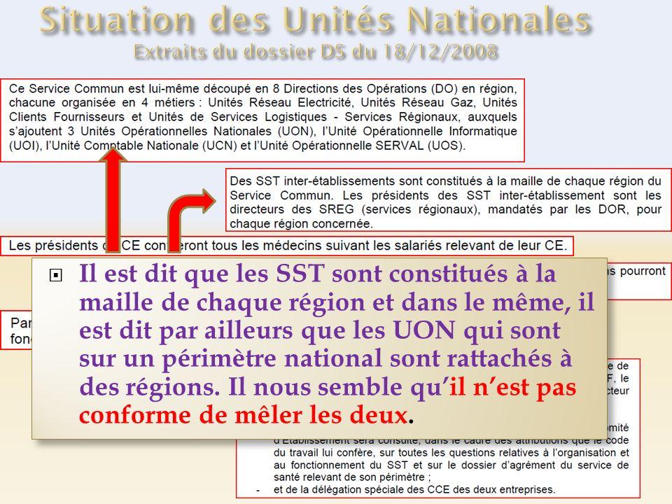 Il est dit que les SST sont constitués à la maille de chaque région et dans le même, il est dit par ailleurs que les UON qui sont sur un périmètre national sont rattachés à des régions.