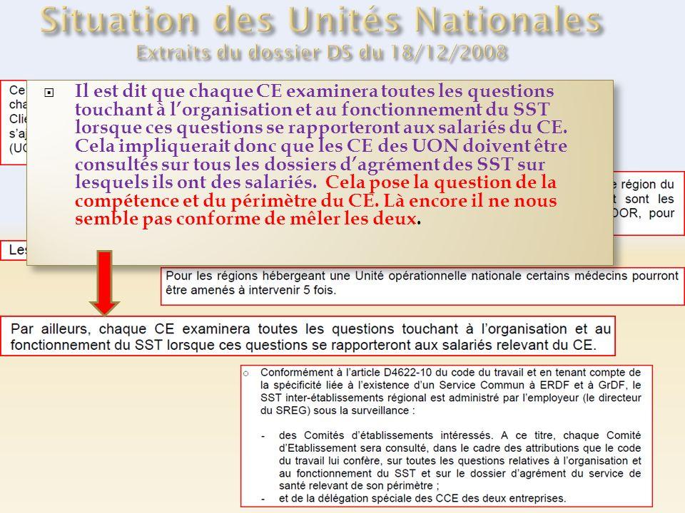 Il est dit que chaque CE examinera toutes les questions touchant à lorganisation et au fonctionnement du SST lorsque ces questions se rapporteront aux salariés du CE.