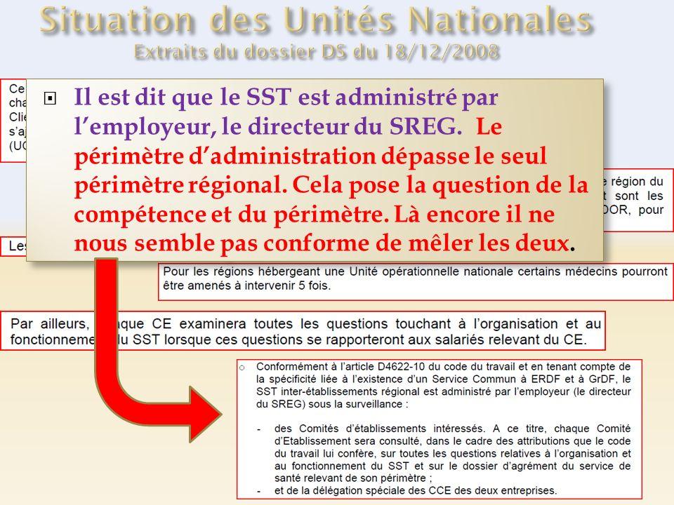 Il est dit que le SST est administré par lemployeur, le directeur du SREG. Le périmètre dadministration dépasse le seul périmètre régional. Cela pose