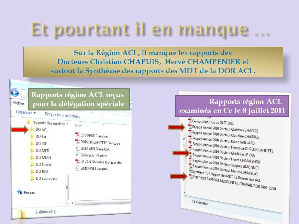 Sur la Région ACL, il manque les rapports des Docteurs Christian CHAPUIS, Hervé CHAMPENIER et surtout la Synthéase des rapports des MDT de la DOR ACL.