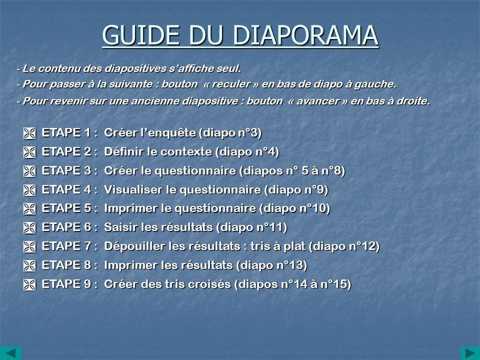 GUIDE DU DIAPORAMA ETAPE 1 : Créer lenquête (diapo n°3) ETAPE 1 : Créer lenquête (diapo n°3) ETAPE 2 : Définir le contexte (diapo n°4) ETAPE 2 : Défin