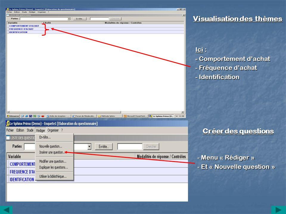 Visualisation des thèmes Ici : - Comportement dachat - Fréquence dachat - Identification Créer des questions - Menu « Rédiger » - Et « Nouvelle questi