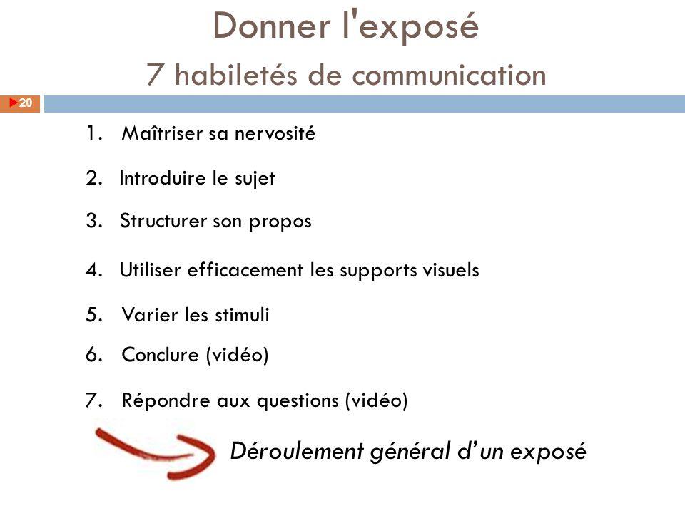 1. Maîtriser sa nervosité 2.Introduire le sujet 3.Structurer son propos 4.Utiliser efficacement les supports visuels 5. Varier les stimuli 6. Conclure