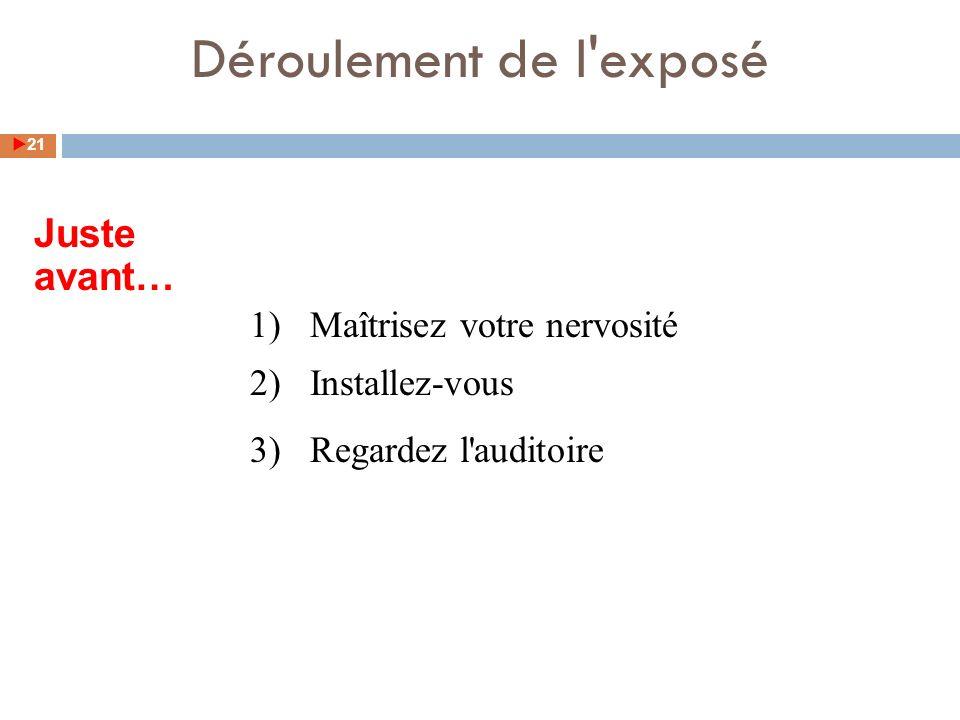 1)Maîtrisez votre nervosité 2)Installez-vous 3)Regardez l auditoire Déroulement de l exposé Juste avant… 21
